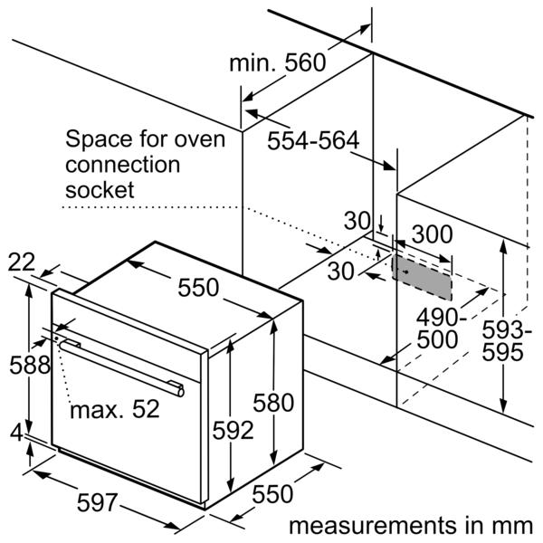 BOSCH 60cm Built In Gas Oven HGL10G050M