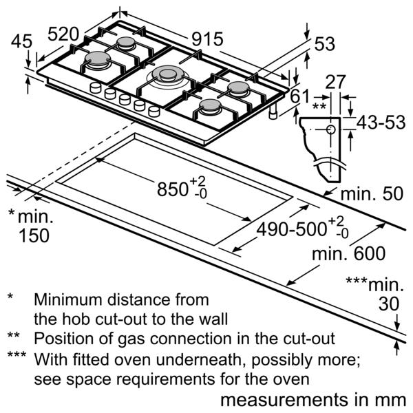 BOSCH 90cm Built In Gas Hob PCR9A5B90M
