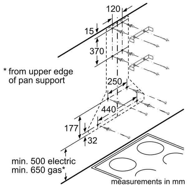 BOSCH 90cm Pyramidal Chimney Hood DWP94CC50M
