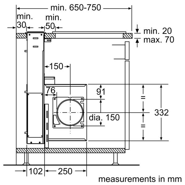 BOSCH 90cm Telescopic Table Ventilation Hood DDA097G59B