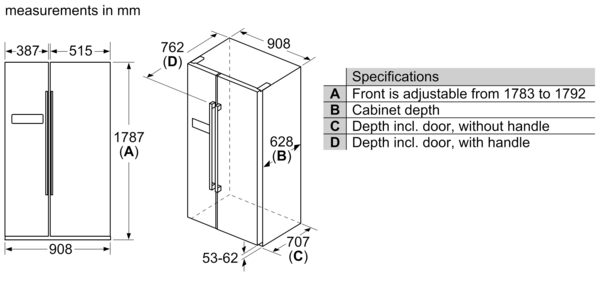 BOSCH 616 Litres Side By Side Refrigerator KAN93VL30M
